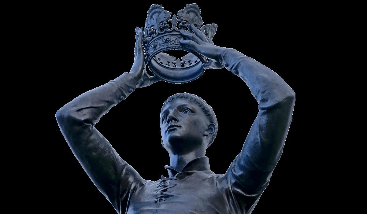 Stijlbreuk case header standbeeld